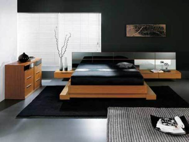 Image of: Black Bedroom with Japanese Style