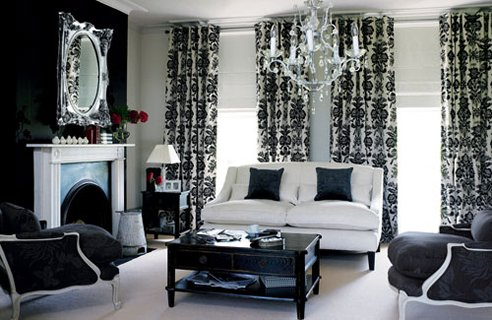 Image of: Black and White Living Room Design