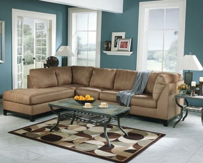 Image of: Blue and Brown Living Room