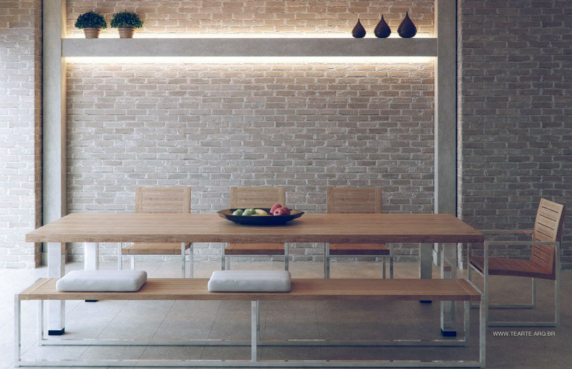 Brick Dining Room with Recessed Wall Lighting