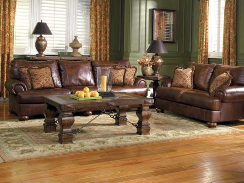 Brown Furniture with Green Painted Walls