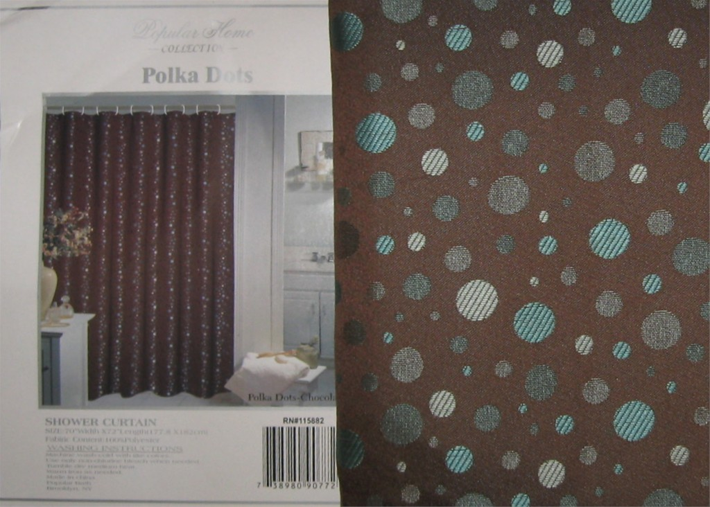 Brown and Aqua Shower Curtain with Polka Dots Design