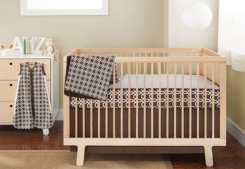Brown and White Neutral Baby Bedding