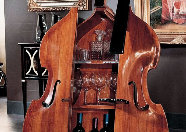 Image of: Cabinet Mini Bar Design with Violin Shaped