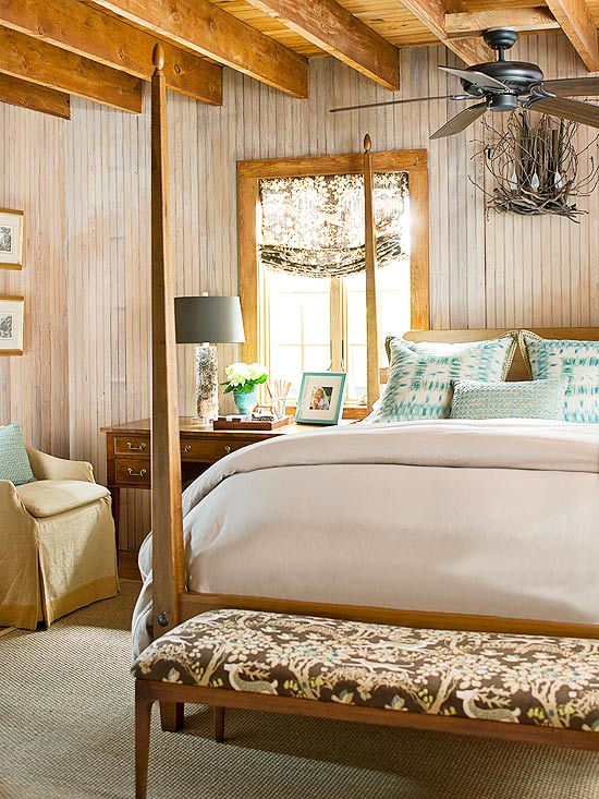 Image of: Cozy Aqua and Brown Bedroom