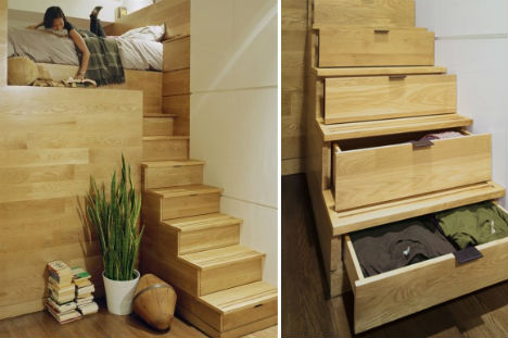 Image of: Drawer Stairs for Small Spaces