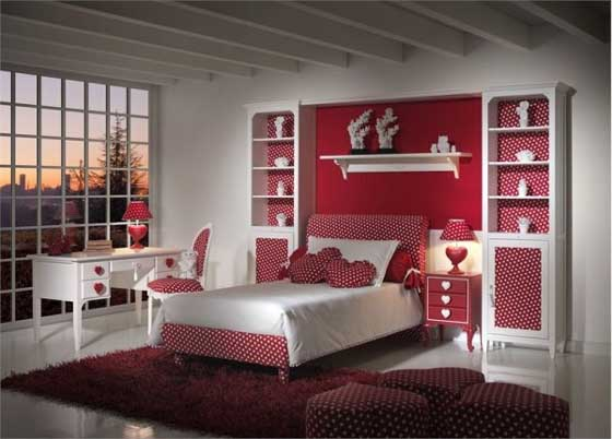 Image of: Dream Red Bedroom Furniture for Girl