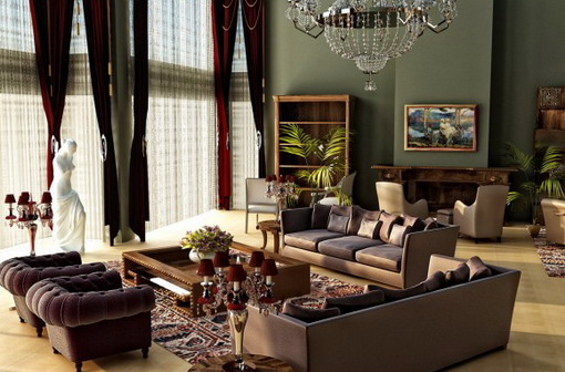 Image of: Elegant Living Room with Brown Furniture