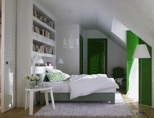 Image of: Green Attic Bedroom