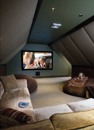 Image of: Home Theater in Attic Space