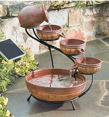 Homemade Water Fountains from Antique Brown Bowls