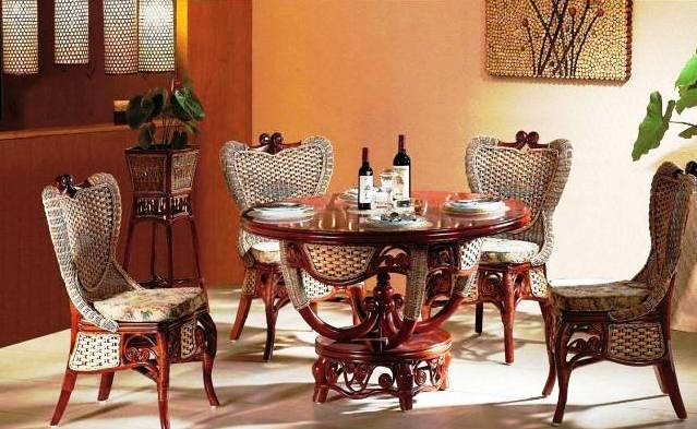 Image of: Indoor Rattan African Style Furniture for Dining Room