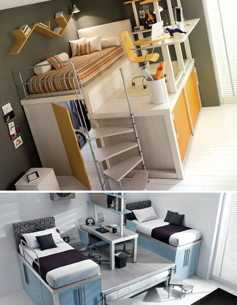 Image of: Loft Bedroom for Teenage's Small Space