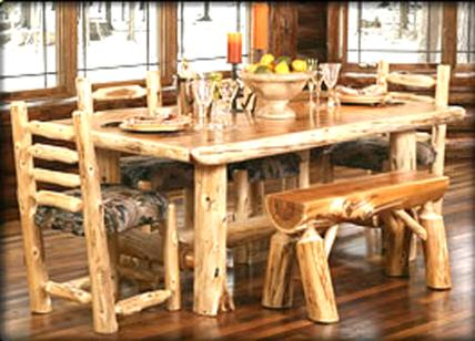 Image of: Log Rustic Dining Table