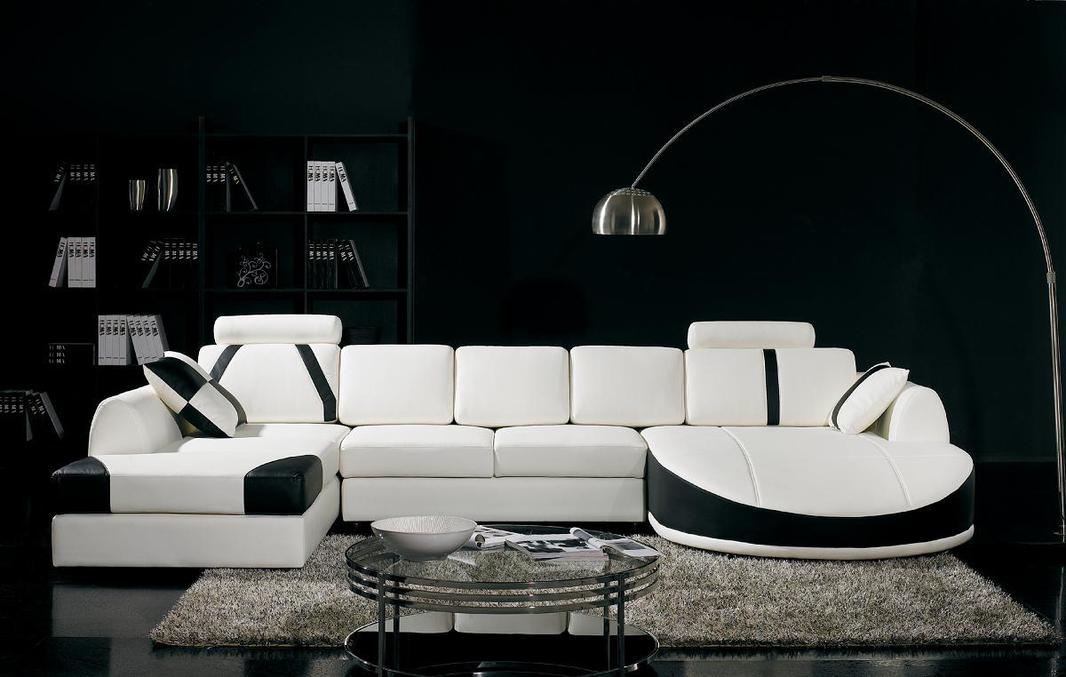 Luxury Black Living Room with White Sofa