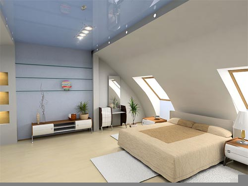 Image of: Modern Bedroom on Attic
