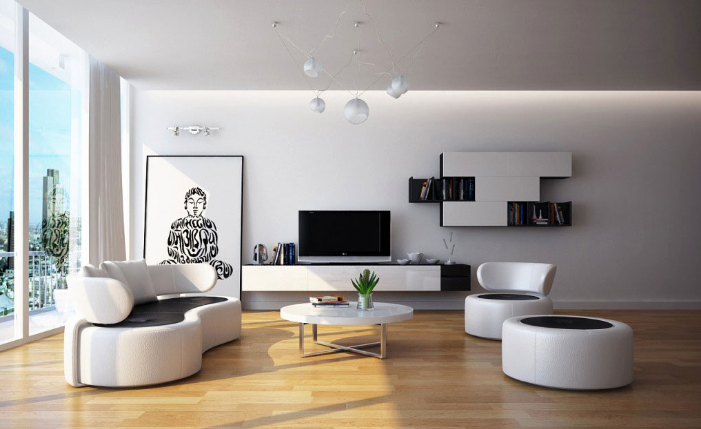 Image of: Modern Classic Black and White Living Room