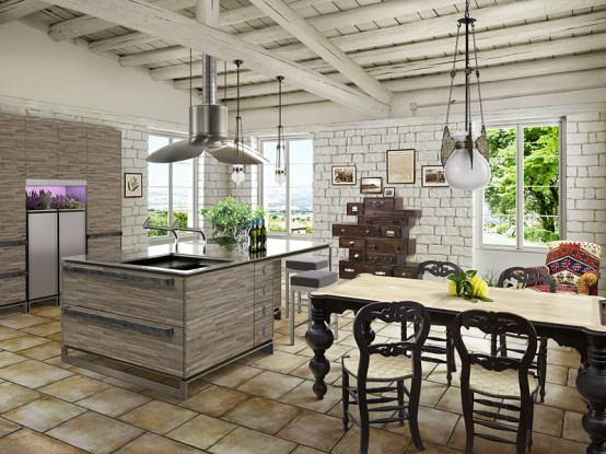 Image of: Modern Kitchen in Rustic Style