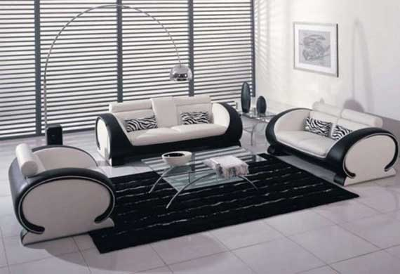 Image of: Modern White and Black Living Room Design Ideas