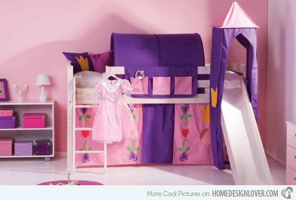 Image of: Princess Bunk Bed for Little Girl