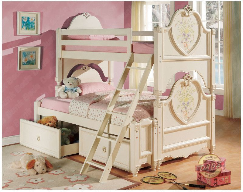 Image of: Princess Bunk Bed with Drawers
