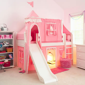 Image of: Princess Castle Pink Bunk Bed