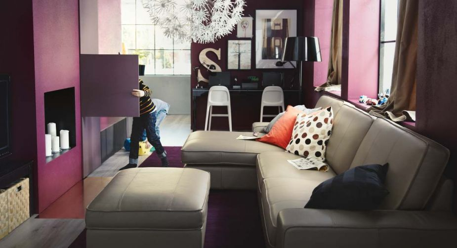 Purple Cream Living Room Design 2013 from Ikea