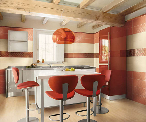 Image of: Red Kitchen in Rustic Modern Style