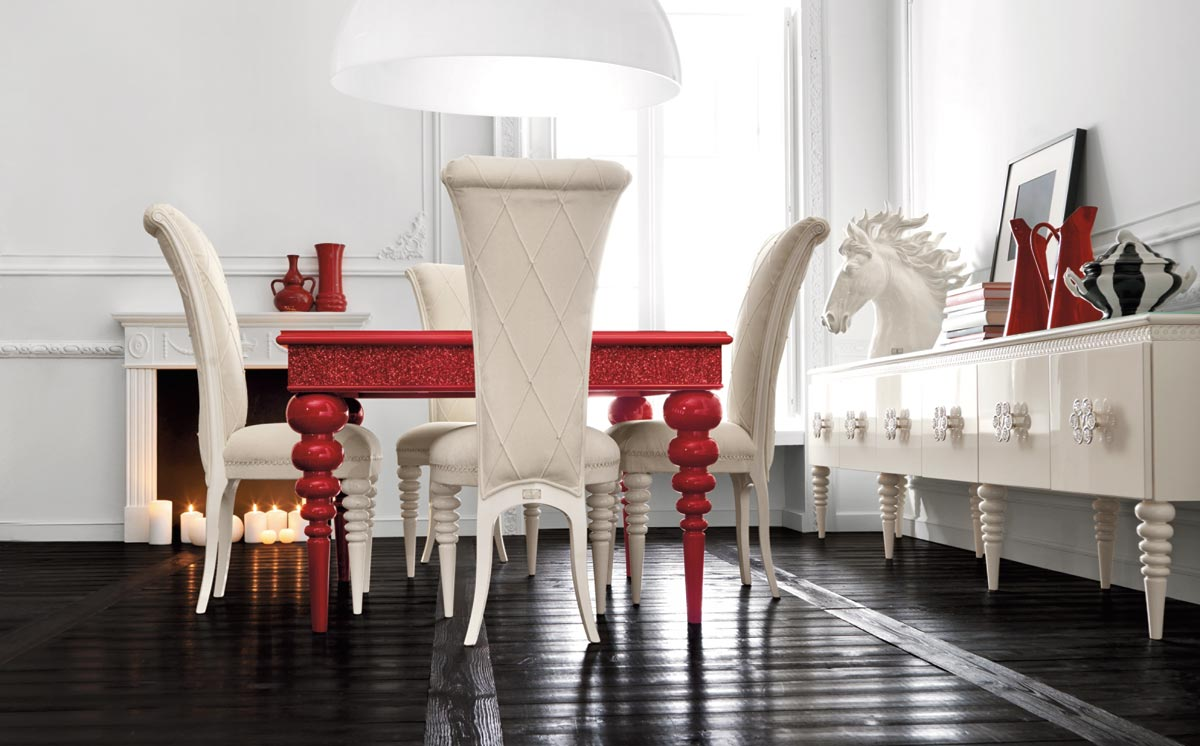 Image of: Red and White Dining Room with Contemporary Style
