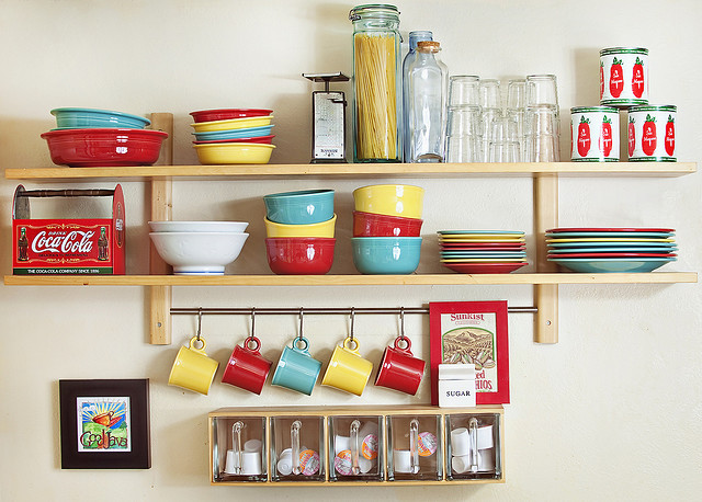 Small Space Organizing Shelving in Kitchen