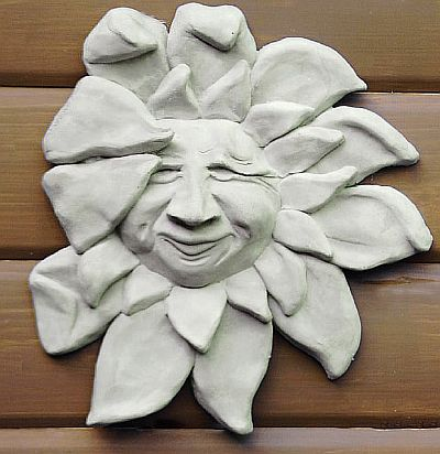 Sun Flower Face Concrete Statue