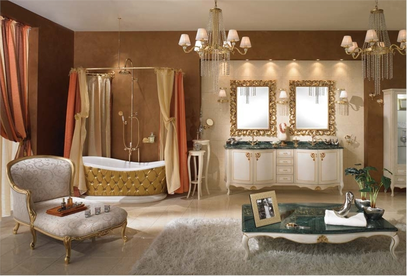 Image of: Traditional Classic Luxurious Bathroom Design with Chandelliers
