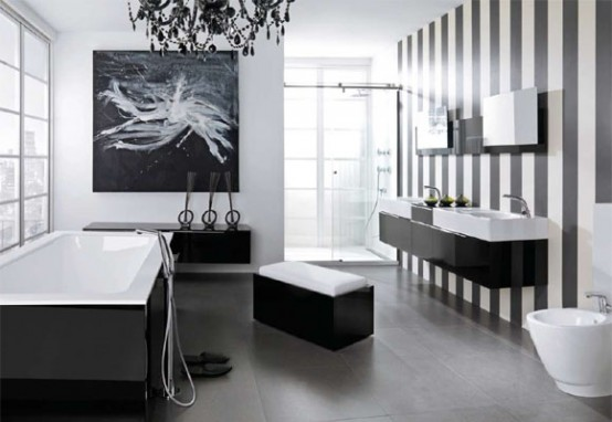 Trendy and Luxury Modern Black Bathroom