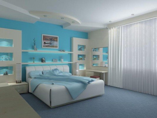 Image of: Unique Bedroom Furniture for Girl with Blue Theme