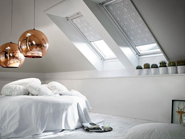 Image of: White Attic Bedroom Decoration