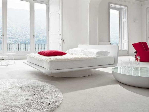 White Double Swivel Modern Bed