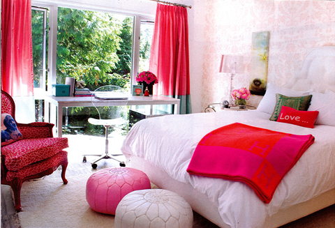 White Red Teen Girl's Bedroom Furniture