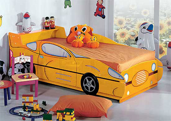Yellow Race Car Shaped Beds Designs for Kids Room