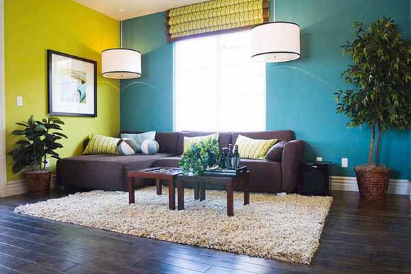 Image of: Yellow and Blue Paint Ideas for Brown Furniture Living Room