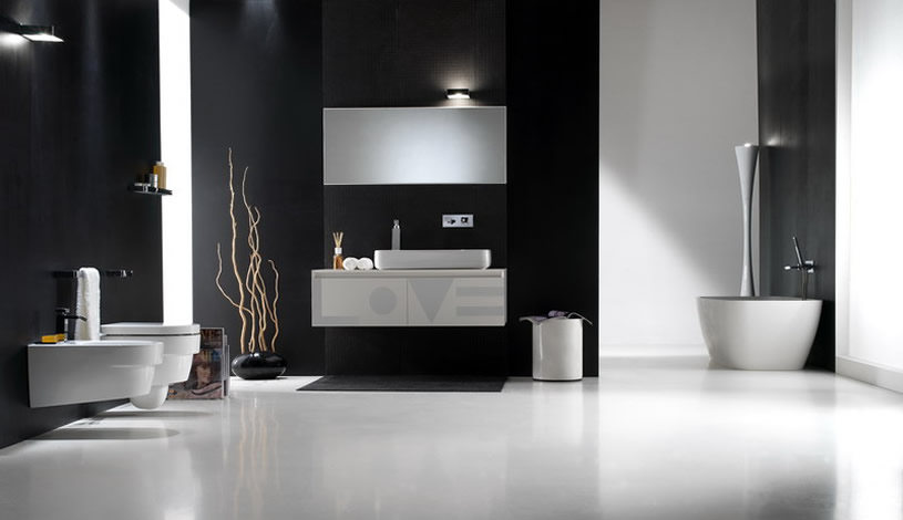 Image of: Bathroom Interior Design Black and White Minimalist