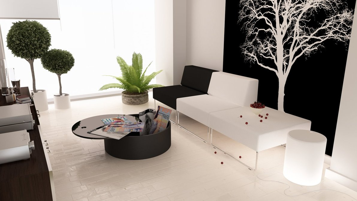 Image of: Black and White Interior Living Room Design