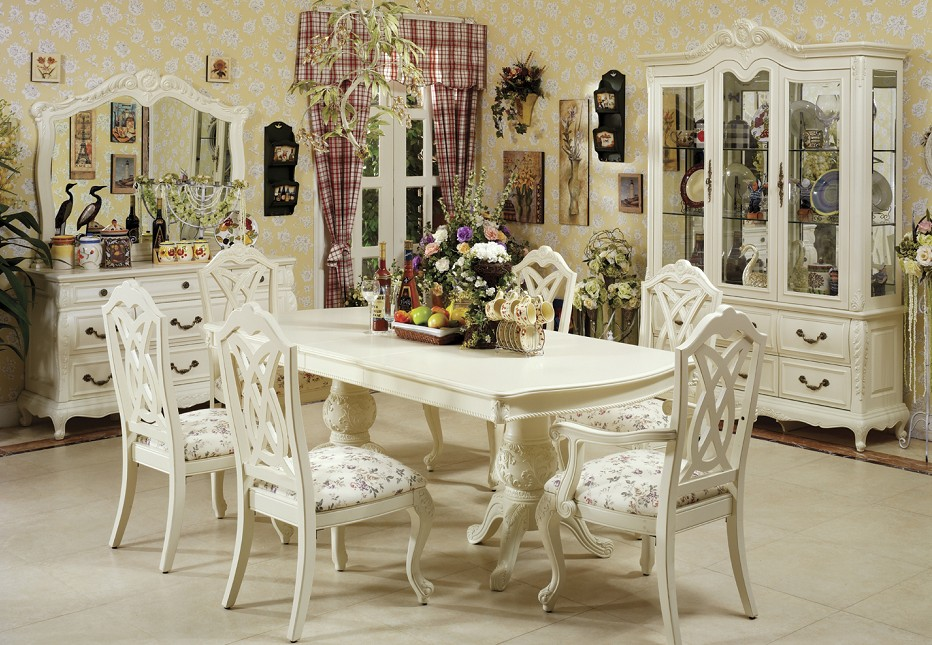 Image of: White Dining Room furniture Sets