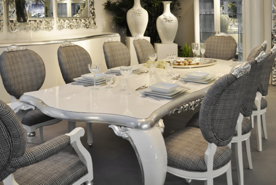 Image of: High Gloss White Dining Table