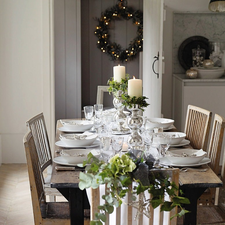 Image of: Christmas White Vintage Dining Table
