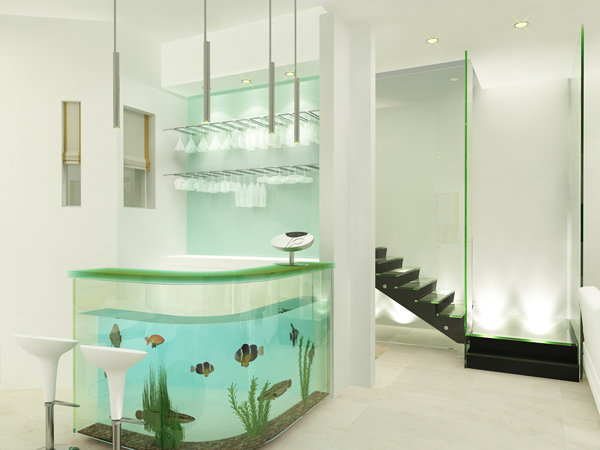 Image of: Interior Decorating with Aquarium Bar