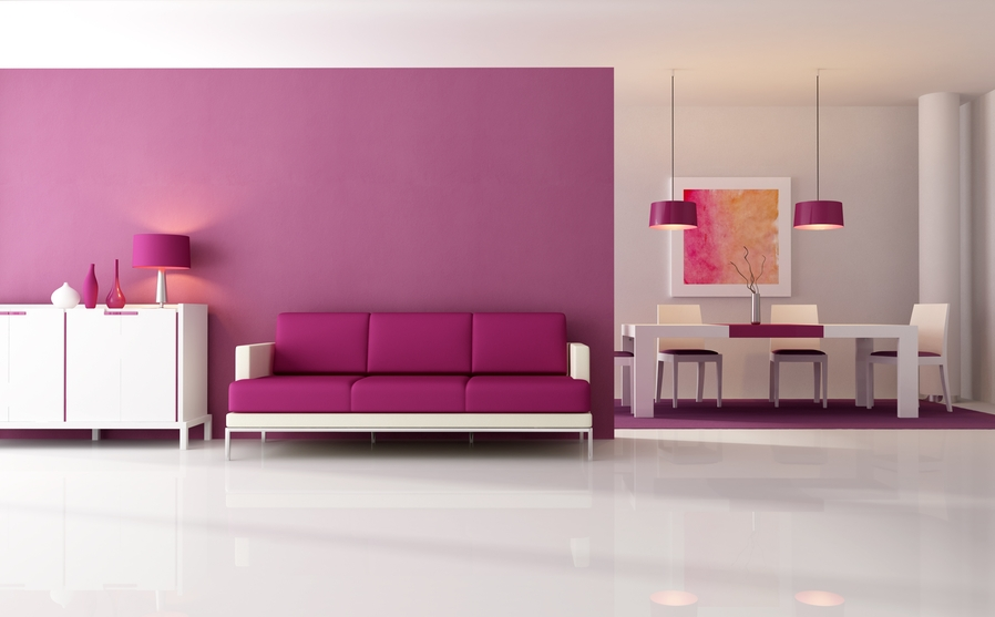 Image of: Purple Long Living Room