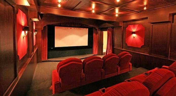 Image of: Red Home Movie Theater Design