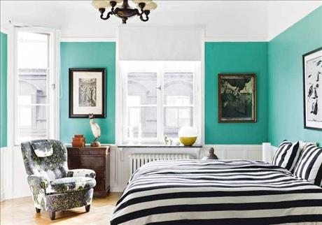 Image of: Turquoise Brown Zebra Print Bedroom