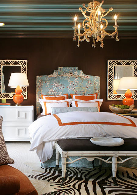 Image of: Turquoise and Brown Bedroom Idea with The Touch of Orange and Zebra Print