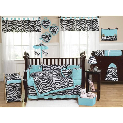 Image of: Turquoise and Brown Funky Zebra Bedding Set